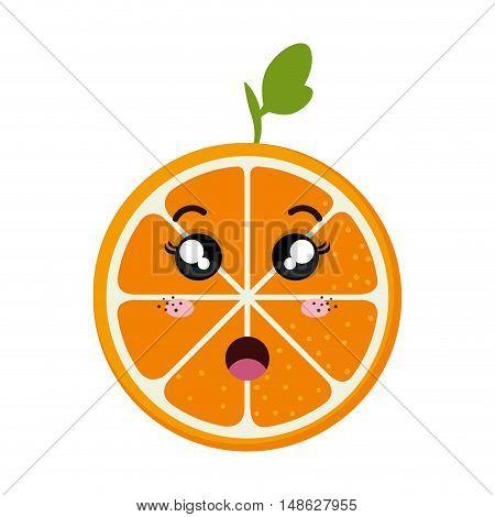 orange fruit food. kawaii cartoon with surprised expression face. vector illustration
