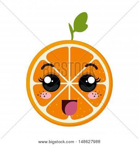orange fruit food. kawaii cartoon with happy expression face. vector illustration