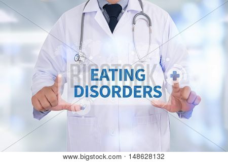 EATING DISORDERS Medicine doctor hand working Doctor work hard