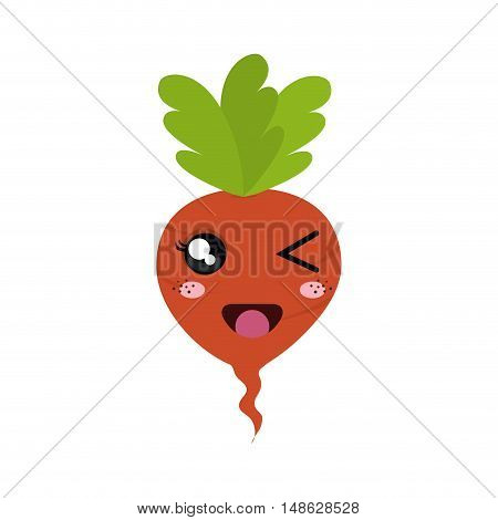 beetroot vegetable food. kawaii cartoon with happy  expression face. vector illustration