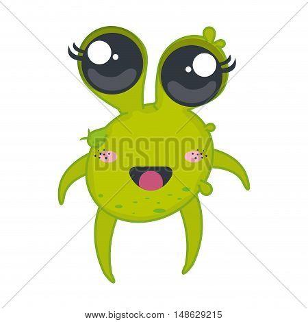 germ bacteria. kawaii cartoon with happy expression face. vector illustration