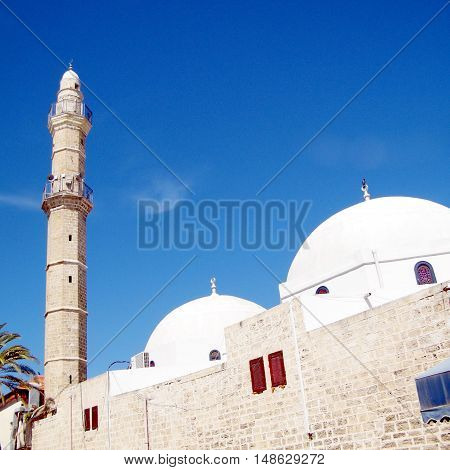 Jaffa Israel - March 14 2011: Domes and minaret of Great Mosque Muhamidiya Mosque in old city.
