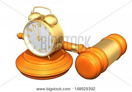 Clock Legal Gavel Concept 3D Illustration