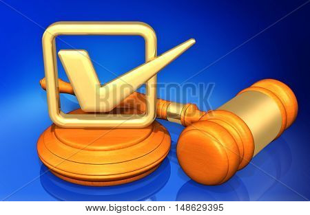 Approval Check Mark Legal Gavel Concept 3D Illustration