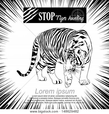 Stop Tiger hunting, tiger walking, black and white Victor.