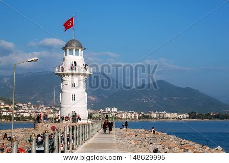 Lighthouse in the harbor of Alanya. Turkey.