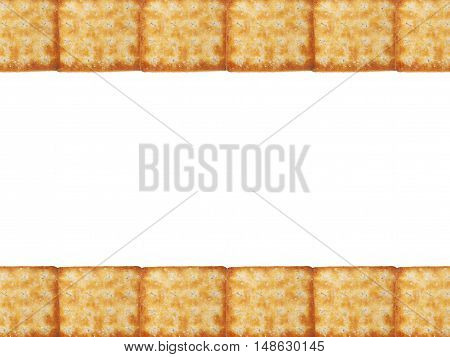 Tasty Biscuits texture closeup details row pattern in top and bottom isolated on white background. Copy space for text at the middle.