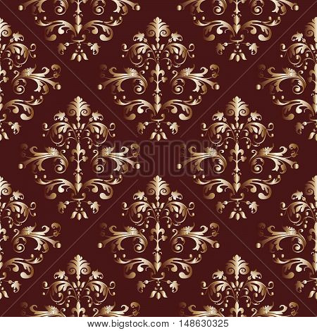 Baroque damask vintage dark red vector seamless pattern background  illustration.with antique floral medieval baroque 3d flowers and ornaments.