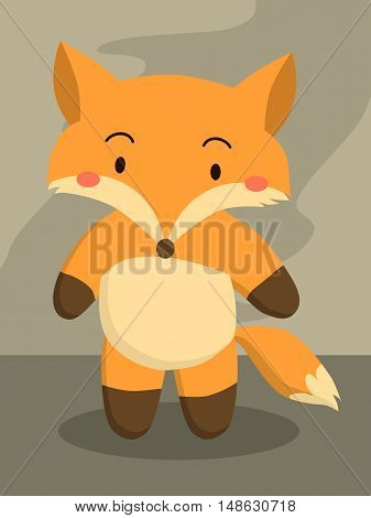 Cute little red fox cartoon standing on gray background vector illustration