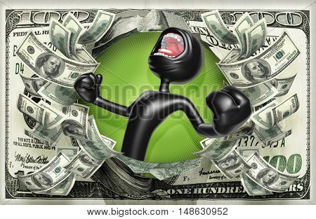 Yelling Character With Money 3D Illustration