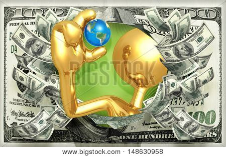 Character Holding A Small World With Money 3D Illustration