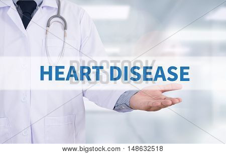 HEART DISEASE Medicine doctor hand working Doctor work hard