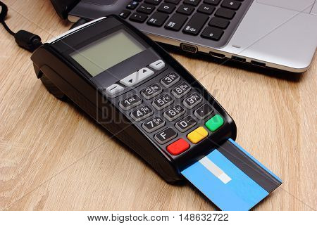 Payment Terminal With Credit Card And Laptop, Finance Concept