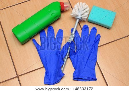 Accessories For Cleaning Bathroom On Ceramics Flooring