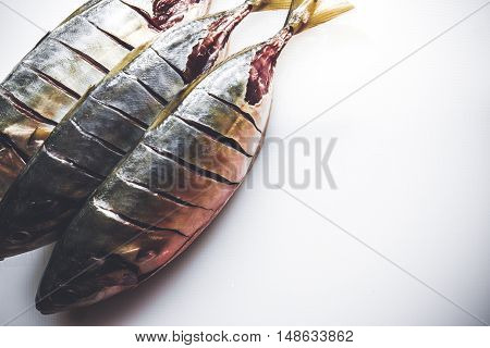 A fresh fishes ready to be cooked. Close up.