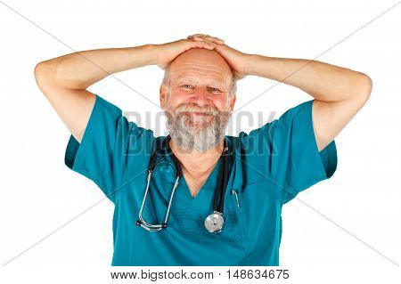 Portrait of a satisfied male surgeon on an isolated background