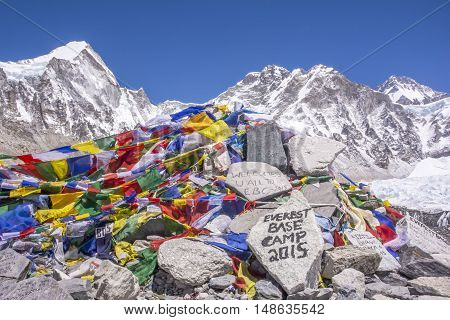 Trekkers will mark their visit on the stones at the Everest Base Camp in Nepal.