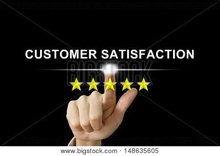 business hand clicking customer satisfaction with five stars on screen