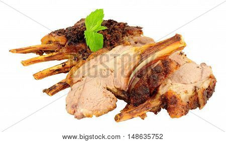 Rack of roasted lamb meat cutlets isolated on a white background