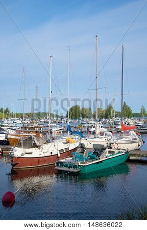 LAPPEENRANTA, FINLAND - AUGUST 21, 2016: The yachts in the marina of Lappeenranta of august day. Tourist landmark of the city Lappeenranta, Finland