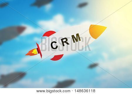 group of CRM or Customer relationship management flat design rocket with blurred background and soft light effect