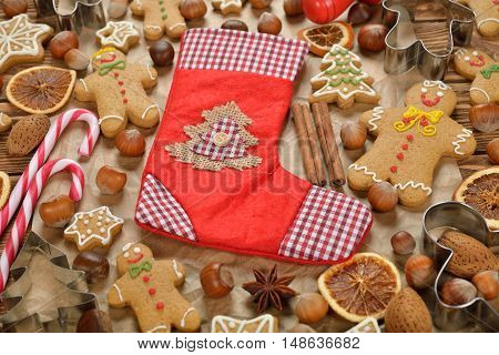 Christmas gingerbread on a brown background close up