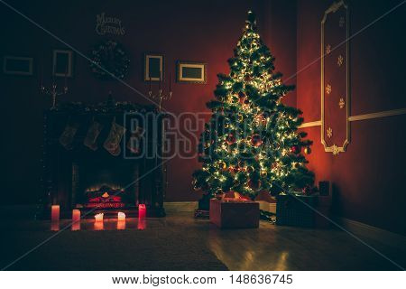 background Living room with christmas tree and fireplace