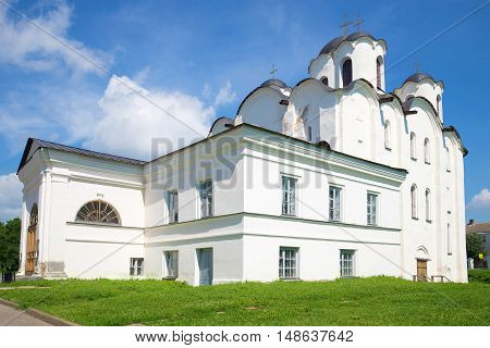One of the oldest churches (founded in 1113) of Veliky Novgorod - St. Nicholas Cathedral closeup, sunny july afternoon. Russia