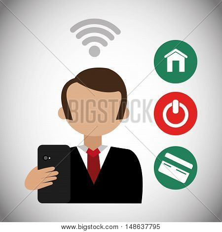 business man avatar wearing suit and tie with smartphone. marketing network. vector illustration