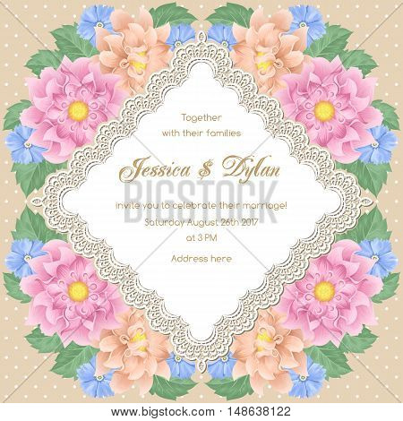 Wedding card or invitation template with flowers and lace frame. Vector illustration