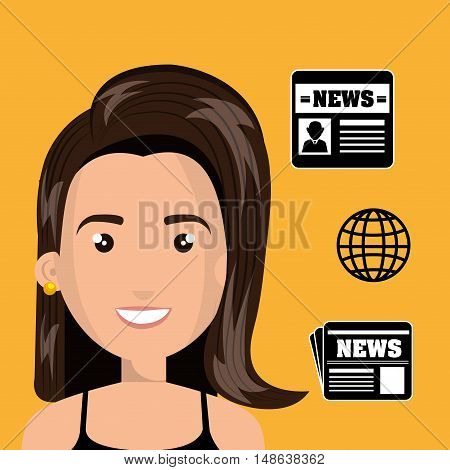 avatar woman smiling with news icon set. vector illustration
