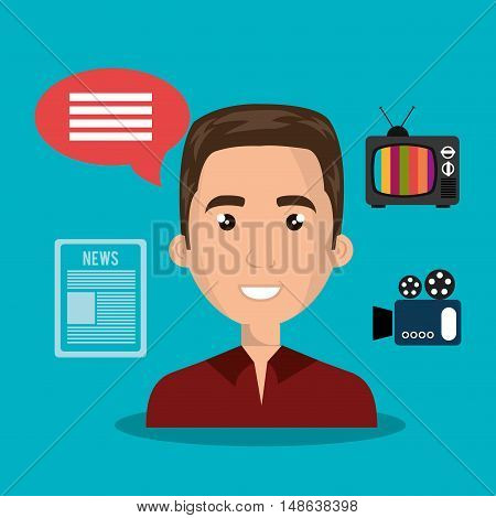 avatar  man smiling wearing red shirt and  news and technology icons. vector illustration
