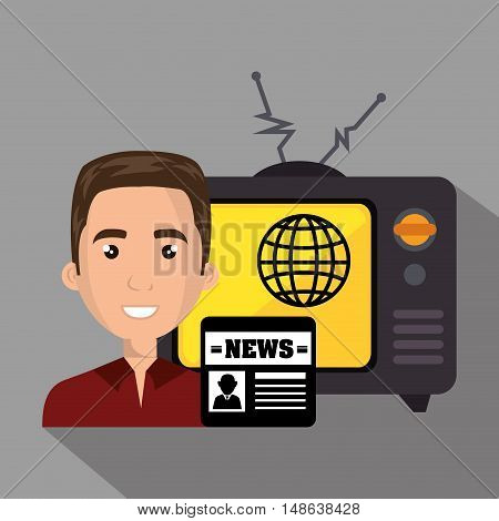 avatar man smiling with retro television and news icon. vector illustration