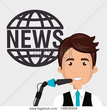 avatar journalist man smiling wearing blue tie and  news icon. vector illustration