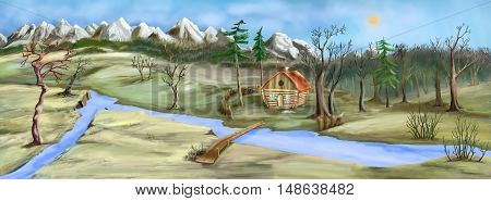 Gloom and dull landscape with Small House Near the River in late Autumn. Digital Painting Background Illustration.