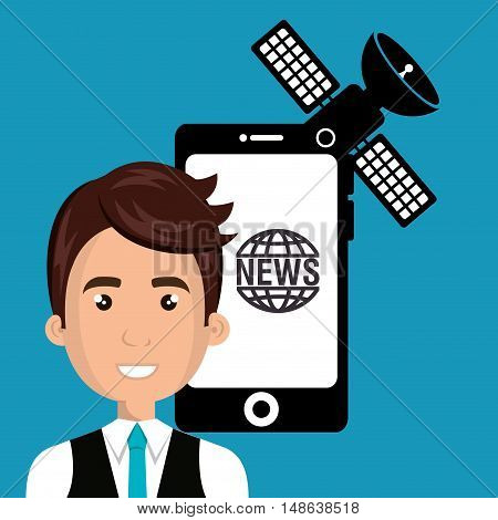 avatar man smiling wearing blue tie and news icons design. vector illustration