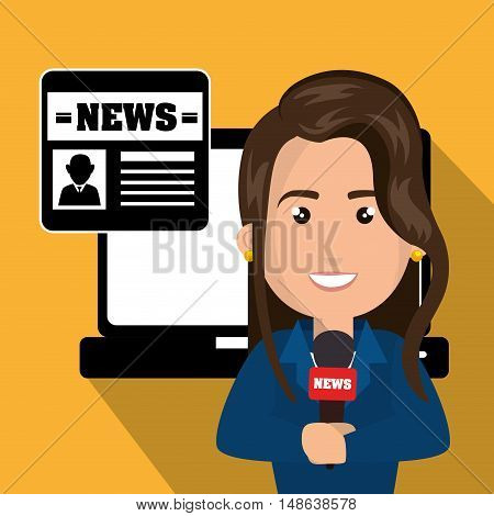 journalist woman avatar with  laptop and newspaper. news and technology  icons set. Colorful design. Vector Illustration