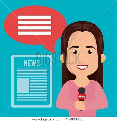 avatar journalist woman smiling  with speech bubble talk and newspaper. news icon. Colorful design. Vector Illustration