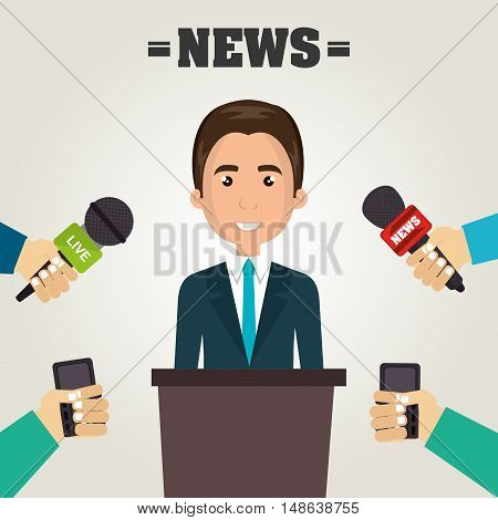 avatar executive man smiling wearing tie and journalists hands with news microphone. vector illustration