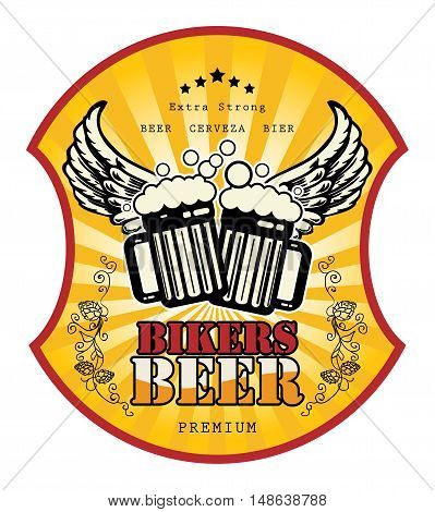 Bikers Beer label or poster, vector illustration