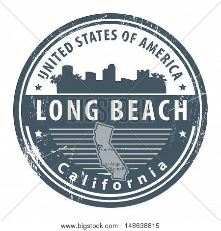 Grunge rubber stamp with name of California, Long Beach, vector illustration