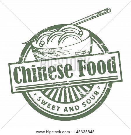 Grunge rubber stamp, with the text Chinese Food written inside, vector illustration