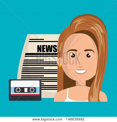 avatar woman smiling with newspaper and cassette. vector illustration