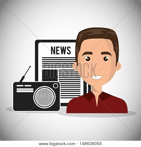avatar man smiling with retro radio and newspaper. vector illustration