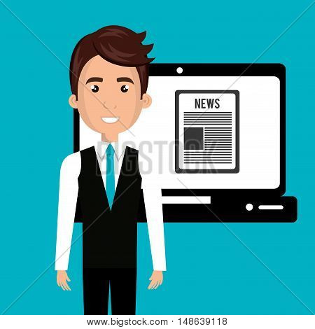 avatar man smiling wearing blue tie and laptop with news screen. vector illustration