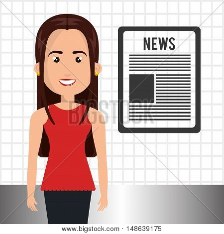 avatar woman smiling wearing red shirt and black pants and newspaper symbol. vector illustration