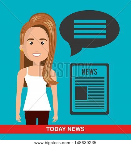 avatar woman smiling wearing white shirt and brown pants and newspaper symbol. vector illustration