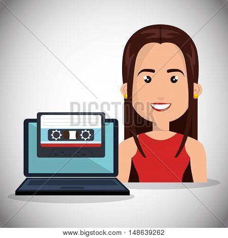avatar woman smiling wearing red shirt with laptop computer and cassette. vector illustration