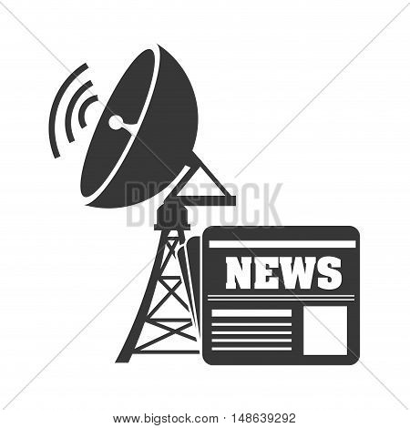 transmitting antenna tower structure with wireless waves and news icon. vector illustration