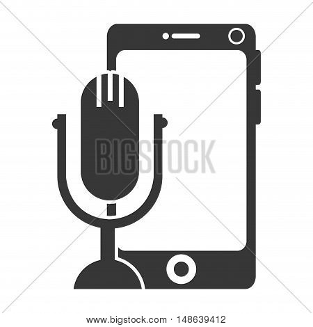 smartphone mobile phone with retro microphone device. vector illustration
